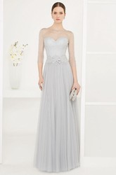 Jewel Neck 3-4 Sleeve Pleated Tulle Long Prom Dress With Belt And Sequins