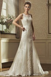 A-Line Square-Neck Floor-Length Sleeveless Appliqued Lace Wedding Dress