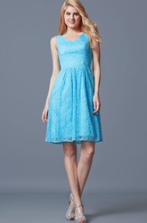 Fantastic Sleeveless V-neck Pleated Short Lace Dress