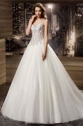 Sweetheart Brush-Train A-Line Bridal Gown With Beaded Corset