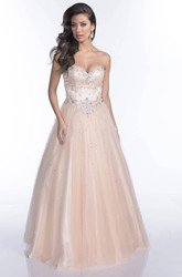 A-Line Tulle Sweetheart Sleeveless Prom Dress With Jeweled Appliques With Open Back