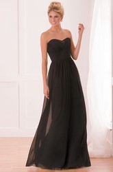 Sweetheart Floor-Length A-Line Chiffon Bridesmaid Dress With Pleats