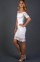 Full Lace Off-Shoulder Short Sheath Wedding Dress With Detachable Skirt