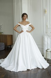 Criss Cross With Illusion Keyhole Back And Buttons Off-the-shoulder Illusion Satin Wedding Dress
