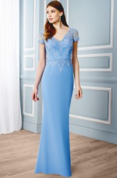 Sheath V-Neck Appliqued Cap Sleeve Chiffon Formal Dress