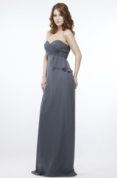 Maxi Sweetheart Sleeveless Criss-Cross Chiffon Bridesmaid Dress With Peplum