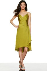 High-Low Ruched Spaghetti Sleeveless Jersey Bridesmaid Dress With Draping