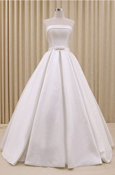Ruched Strapless Princess Lace-up Wedding Dress With Bow Delicated Belt