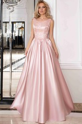 A-Line Floor-Length Bateau Sleeveless Satin Embroidery Low-V Back Dress