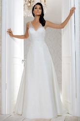 Long V-Neck Appliqued Chiffon Wedding Dress With Court Train And V Back
