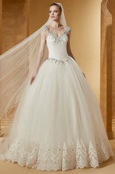 Fancy Beaded V-Neck Cap Sleeve Ball Gown With Embroideries And Open Back