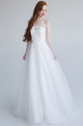 A-Line Strapless Sleeveless Maxi Floral Tulle Wedding Dress With Appliques