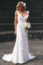 Sheath V-neck Chiffon Open Back Zipper Wedding Gown
