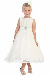 Tea-Length Natural Beaded Tulle&Satin Flower Girl Dress With Broach
