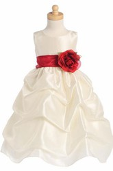 Tea-Length Floral Floral Ruched Taffeta Flower Girl Dress With Sash