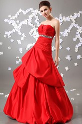 Stunning A-Line Strapless Ball Gown Satin Prom Dress With Ruffles