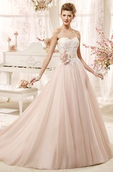 Lovely Strapless A-line Wedding Dress with Flower Sash and Pleated Skirt
