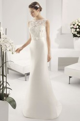 Bateau Neck Sheath Bridal Gown With Appliqued Top And Satin Skirt