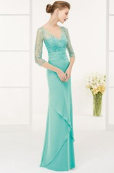 Sheath 3-4-Sleeve Floor-Length V-Neck Sequined Chiffon Prom Dress