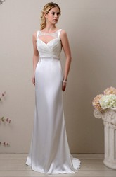 Keyhole Back Satin Sleeveless Sheath Wedding Dress Featuring Shimmering Bodice