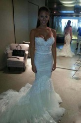 Mermaid Trumpet Sweetheart Lace Tulle Backless Zipper Wedding Dress