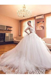 Ball Gown V-neck Lace Tulle Zipper Wedding Gown