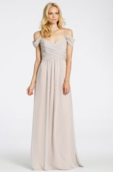 Floor-Length Spaghetti Criss-Cross Chiffon Bridesmaid Dress With Brush Train And V Back