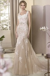 Sheath Square-Neck Sleeveless Floor-Length Appliqued Tulle&Lace Wedding Dress With Beading