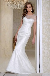 Long Scoop Short-Sleeve Beaded Satin Wedding Dress With Court Train And V Back