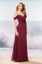 V-Neck A-Line Long Bridesmaid Dress With Crisscross Ruching And Spaghetti Straps