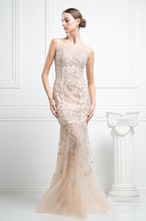 Mermaid Long Jewel-Neck Sleeveless Tulle Illusion Dress With Crystal Detailing