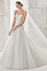 Sweetheart A-line Wedding Dress with Detachable Lace Coat