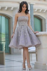 A-line Knee-length Sleeveless Strapless Beading Sash Ribbon Sequins Sequins Homecoming Dress