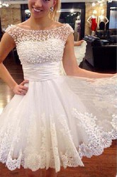 A Line Bateau Lace Tulle Low-V Back Wedding Dress