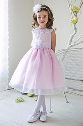 Split-Front Tea-Length Appliqued Beaded Lace&Sequins Flower Girl Dress With Tiers
