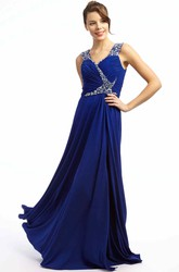 A-Line Long Beaded Sleeveless V-Neck Chiffon Prom Dress With Ruching