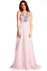 Ruched Sleeveless Strapped Chiffon Prom Dress