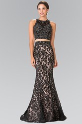 Two-Piece Mermaid Jewel-Neck Sleeveless Lace Illusion Dress With Beading