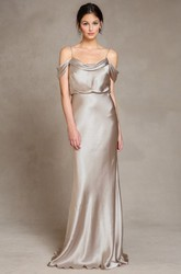 Sleeveless Spaghetti Satin Bridesmaid Dress With Low-V Back