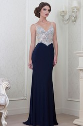 Sheath Sleeveless Beaded V-Neck Chiffon Evening Dress With Brush Train