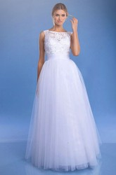 A-Line Bateau Sleeveless Floor-Length Tulle&Lace Wedding Dress With Keyhole Back