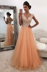 Cap Short Sleeve Floor-length A-Line V-neck Tulle Dress