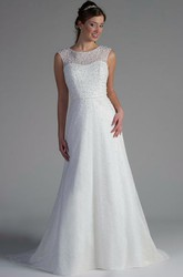 Scoop Neck A-Line Tulle Bridal Gown With Pearl Bodice