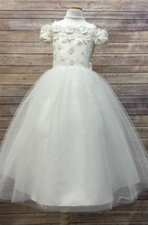 Tea-Length Embroideried Appliqued Floral Tulle&Satin Flower Girl Dress With Sash
