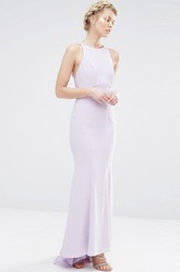Sheath Ankle-Length Cascading-Ruffled Scoop Neck Sleeveless Chiffon Bridesmaid Dress