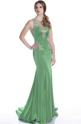 Mermaid Jersey Sleeveless Keyhole Back Prom Dress Featuring Rhinestones Appliques