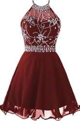 Halter Short Prom Dress With Beadings And Rhinestones