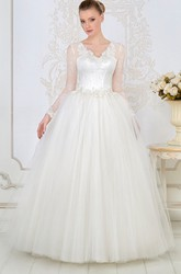 Ball Gown Maxi V-Neck Lace Long-Sleeve Tulle Wedding Dress With Appliques And Beading