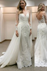 A Line Jewel Lace Tulle Low-V Back Wedding Dress