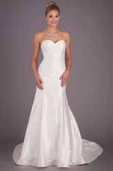 Long Sweetheart Satin Wedding Dress With Brush Train